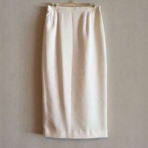 Cream Straight Fit Slit Midi Pencil Skirt
